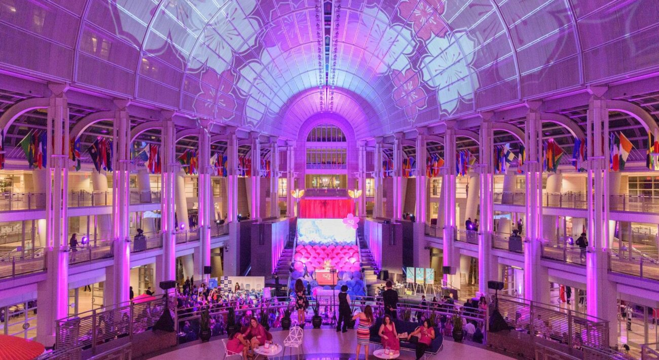 pink tie party 2018 atrium of ronald reagan buliding